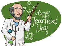 Plakat z Szczęśliwą chemia nauczyciela odświętnością ilustracji