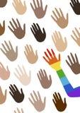Plakat z wielo- grup etniczych rękami i mówić o równouprawnieniu płci Flaga widmo duma, homoseksualność embl ilustracja wektor