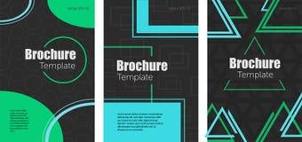 PLAKATA 08 set abstrakcjonistyczne broszurki z geometrycznymi kształtami royalty ilustracja