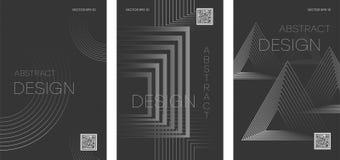 PLAKATA 09 set futurystyczne abstrakcjonistyczne broszurki z geometrycznymi kształtami royalty ilustracja