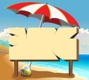 Plakatbrett auf dem Strand Stockbilder