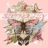 Plakatdruck mit Blumen und Schmetterlingen in den rosa Farben ideal Stockfotos