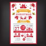 Plakateinladung frohe Weihnachten Lizenzfreie Stockfotografie