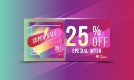 Plakatformat und -flieger des Superrabattes des verkaufs 25 helles rechteckiges Schablone für Designwerbung und Fahne auf Farbhin Lizenzfreie Stockbilder