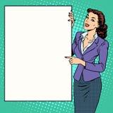 Plakatgeschäftsfrauart Ihre Marke hier Stockfoto