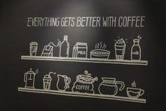 Plakatkaffee mit Hand gezeichneter Beschriftung stockfotos