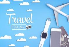 Plakatknopf der Reise jetzt mit Reise wendet für Reisekonzept ein stock abbildung