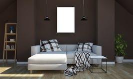 Plakatmodell auf Wohnzimmer lizenzfreies stockfoto
