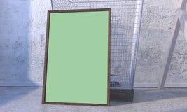 Plakatmodell vor einem Abfalleimer lizenzfreie abbildung
