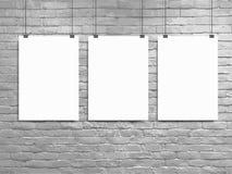 Plakatmodell-Weißbacksteinmauer des Vektors drei Lizenzfreie Stockbilder