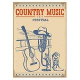 Plakatmusikfestivalhintergrund mit Gitarren- und Cowboykleidung Stockfotos