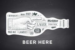 Plakatowa butelka piwo z ręka rysującym literowaniem Obrazy Royalty Free