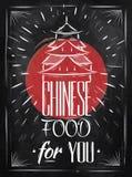 Plakatowa Chińska jedzenie domu kreda ilustracji