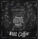 Plakatowa Francuska kawy prasy kreda Zdjęcia Royalty Free