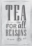 Plakatowa herbata Dla wszystko Rozumuje. Węgiel. ilustracji