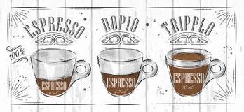 Plakatowa kawa espresso royalty ilustracja