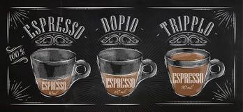 Plakatowa kawy espresso kreda royalty ilustracja