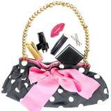 Plakatowa kobiety ` s torebka z dekoracyjnymi kosmetykami Obrazy Stock