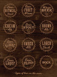 Plakatowa kolekcja piwne nakrętki. Ciemny drewno. ilustracji