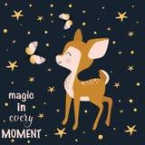 Plakatowa magia w każdy momencie z dziecko rogaczami - wektorowa ilustracja, eps royalty ilustracja