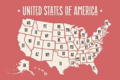 Plakatowa mapa Stany Zjednoczone Ameryka z stanów imionami Obrazy Royalty Free
