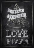 Plakatowa pizzy kreda ilustracji