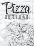 Plakatowa pizzy włoszczyzna. Węgiel. Obrazy Stock