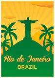 Plakatowa podróż Brazylia, Rio De Janeiro linia horyzontu również zwrócić corel ilustracji wektora Zdjęcie Royalty Free