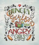 Plakatowe Głodne dziewczyny royalty ilustracja