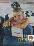 Plakatowej reklamy Iberia linie lotnicze w magazynie od Października 2005, uśmiech! TY JESTEŚ W HISZPANIA sloganie fotografia royalty free
