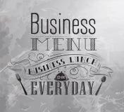 Plakatowy Biznesowy menu. Węgiel. Obrazy Royalty Free