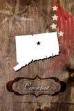 Plakatowy Connecticut stanu mapy kontur obraz stock