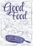 Plakatowy dobry jedzenie. Atrament. ilustracja wektor