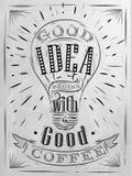 Plakatowy dobry pomysł kawy węgiel ilustracja wektor