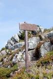 Plakatowy drewno w scenerii sygnalizować Zdjęcie Stock