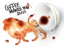 Plakatowy dzikiej kawy lew ilustracja wektor