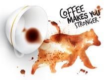 Plakatowy dzikiej kawy niedźwiedź ilustracja wektor