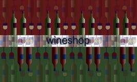 Plakatowy etykietki signboard wineshop ilustracyjny wino, szkła i butelki Obraz Stock
