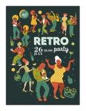 Plakatowy festiwal muzyki, retro przyjęcie w stylu 70's, 80's Ampuła ustawiająca charaktery, muzycy, tancerze i piosenkarzi, Vect ilustracja wektor