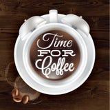 Plakatowy filiżanki kofem budzik w ciemnym drewnie Fotografia Stock