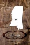 Plakatowy Mississippi stanu mapy kontur obraz stock