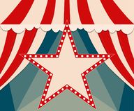 Plakatowy szablon z retro gwiazdowym cyrkowym sztandarem Projekt dla presen Zdjęcia Stock