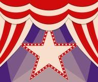 Plakatowy szablon z retro gwiazdowym cyrkowym sztandarem Projekt dla presen Obrazy Stock