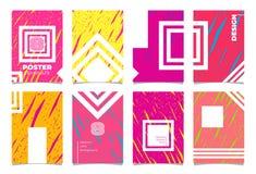 Plakatowy wektorowy mockup szablonu set Ręka rysujący różowy żółty ilustracyjny tło, dekoracyjni elementy projektuje katalog, pok royalty ilustracja