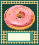 Plakatowy wektorowy szablon z donuts Reklamować, wizytówka, zaproszenie dla piekarni lub kawiarnia w rocznika stylu, Obrazy Stock