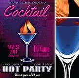 Plakatschablone für die Cocktailparty Stockfotos