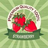 Plakatschablone für Erdbeerbauernhof Fruchtaufkleberdesign Stockbilder