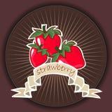 Plakatschablone für Erdbeerbauernhof Fruchtaufkleberdesign Stockfotos