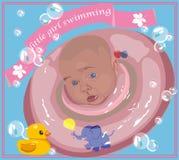 Plakatschwimmenmädchen mit rosa Rettungsleine lizenzfreie stockfotografie