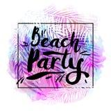 Plakatstrandfest auf einem modischen tropischen Aquarellhintergrund, exotische Palmen Karte, Aufkleber, Flieger, Fahnendesign